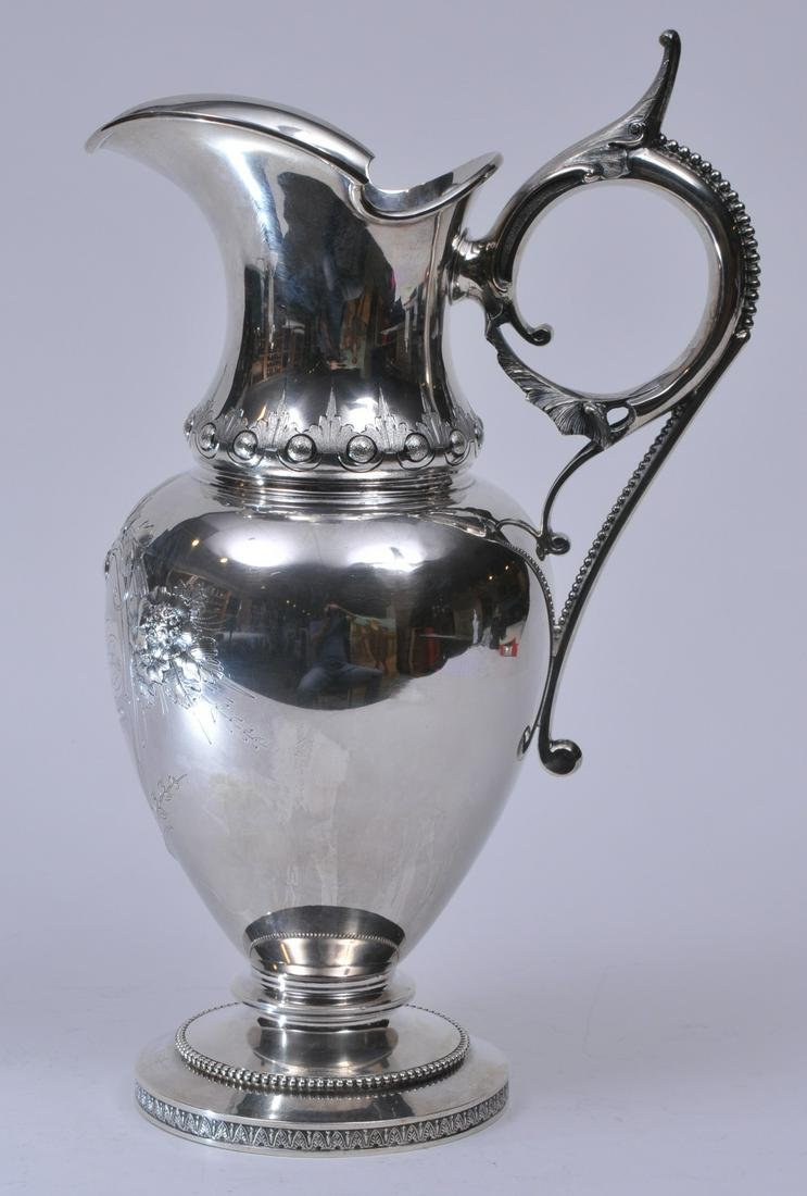 W & H makers coin silver Victorian large ewer. Leaf and
