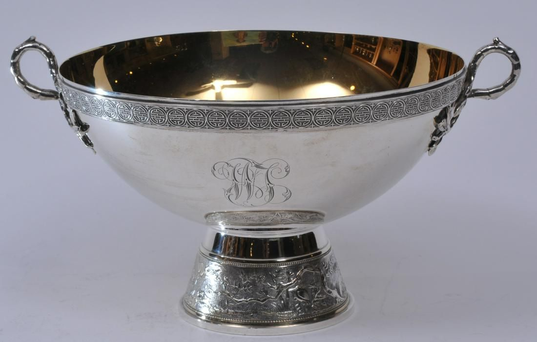 Gorham sterling silver Victorian gilt lined two handled