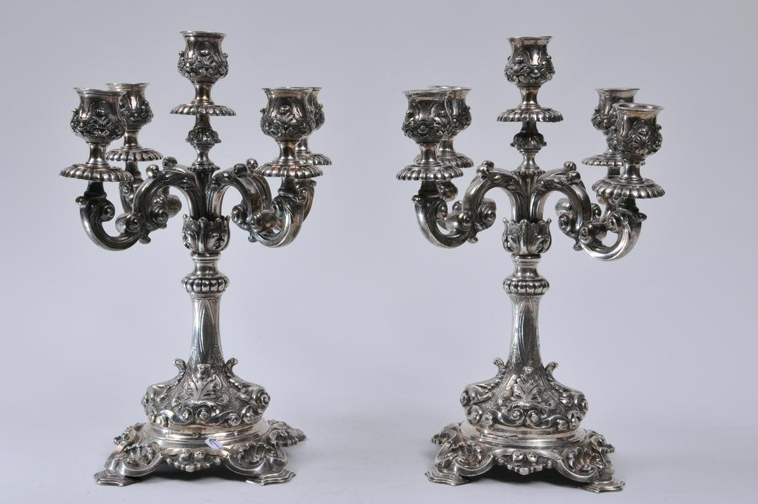 Pair of large heavy sterling silver five light ornate
