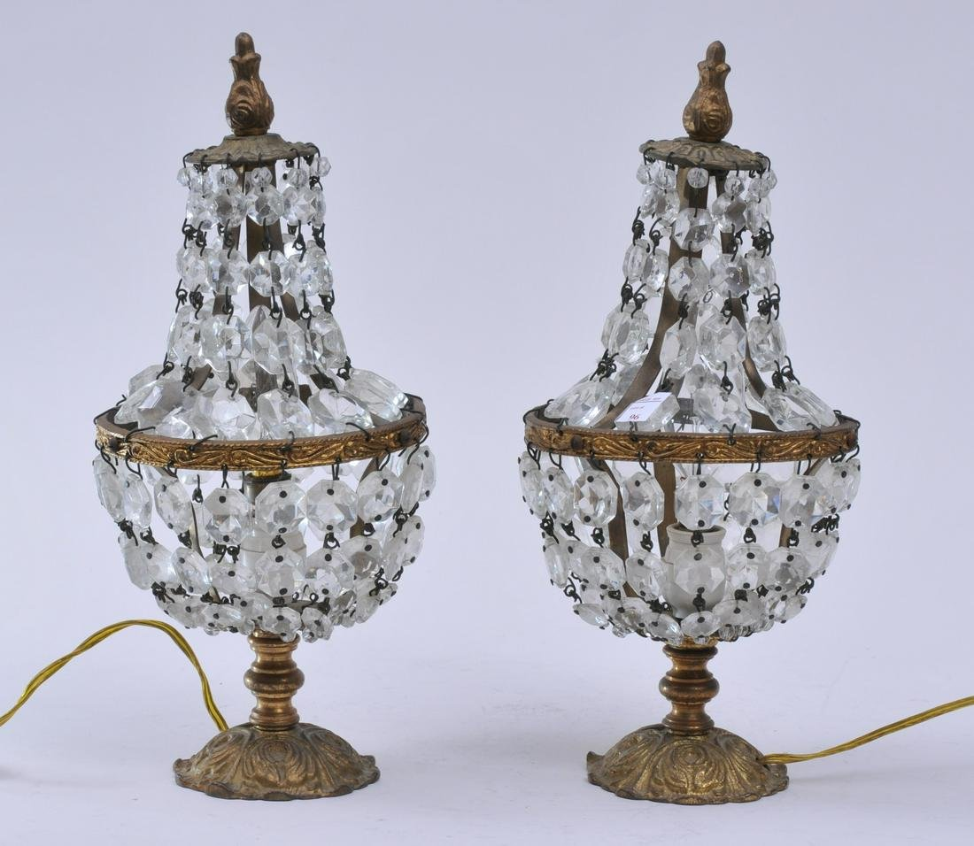 Pair of small gilt metal table lamps with graduated