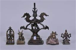 Five (5) bronze images. India. 19th C or earlier.