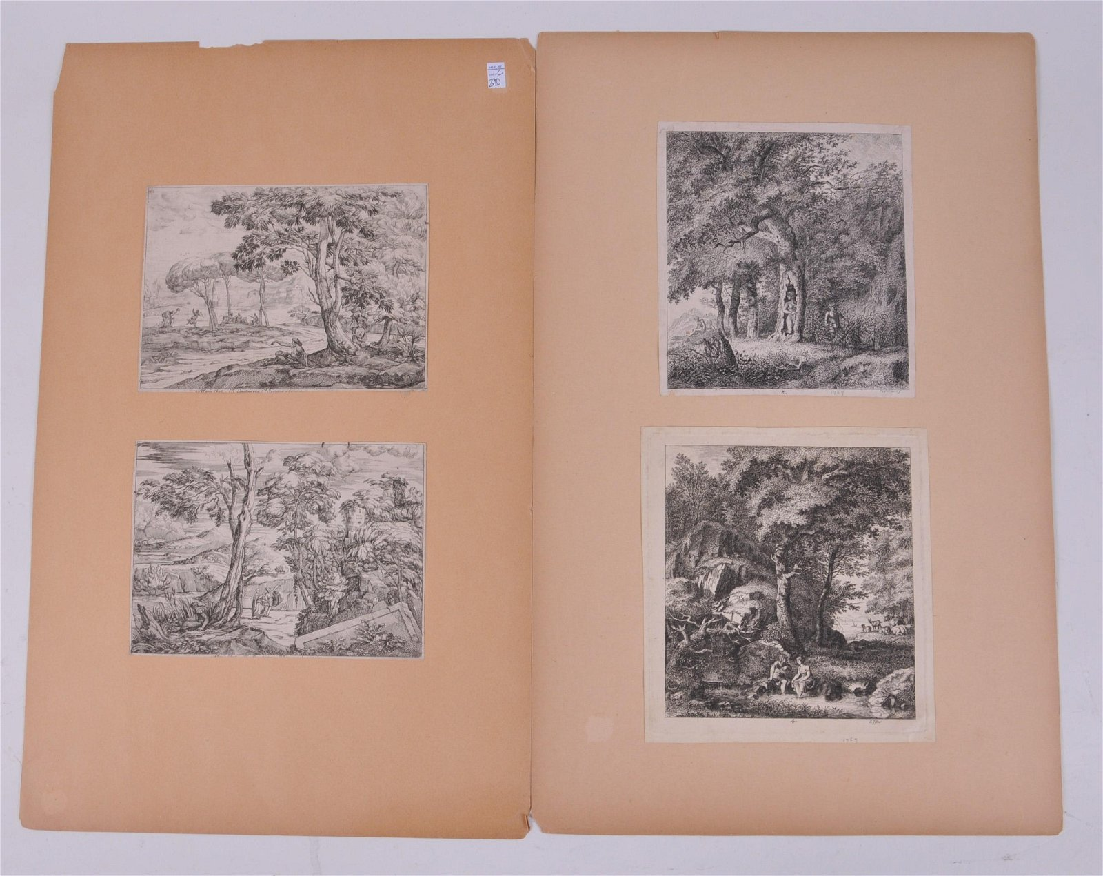 [4] French engravings, each of Classical landscapes