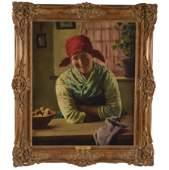 Emil Rau Oil on Canvas Portrait Painting