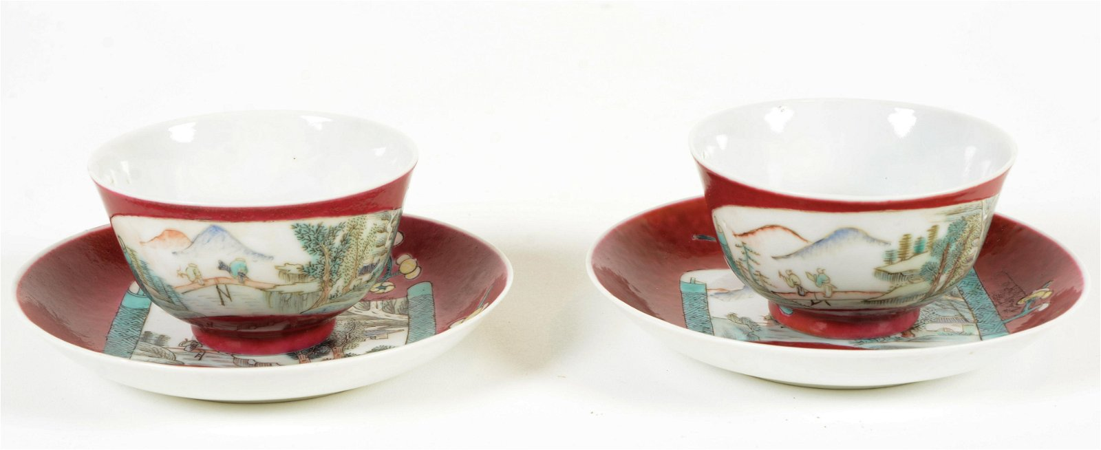 Pair of Porcelain Cups and Saucers
