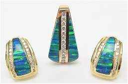 14K Yellow Gold Opal and Diamond Set