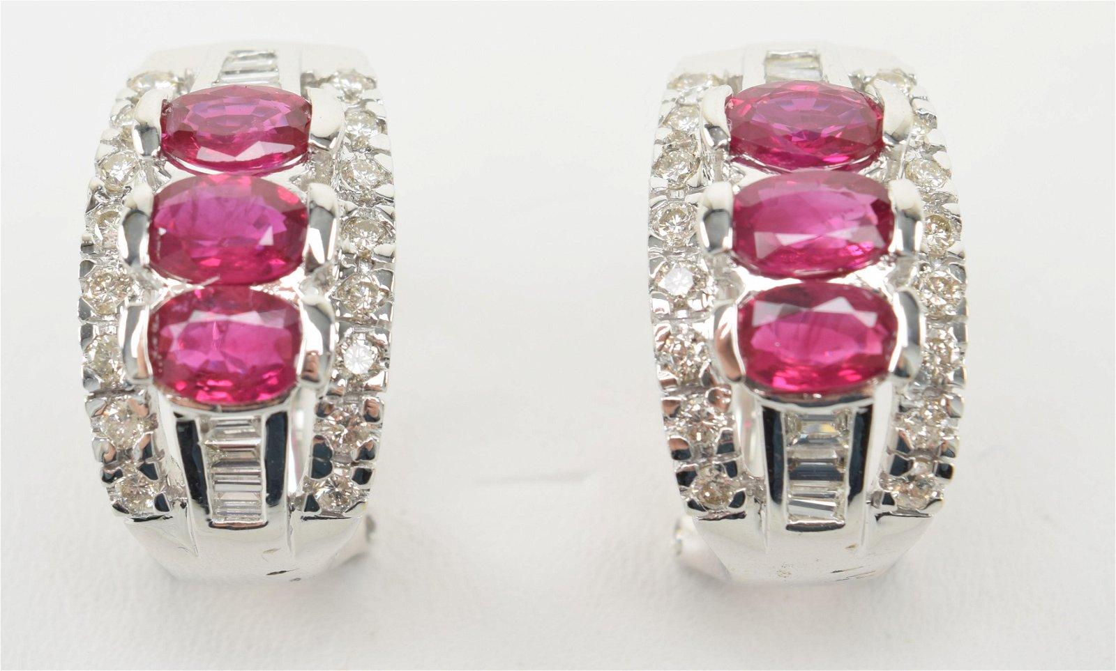 18K White Gold, Diamond and Ruby Huggie Earrings