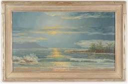 "John William Hilton ""Napoli Moonlight"" Painting"