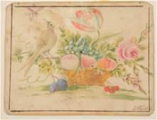 19th Century American Folk Art Watercolor