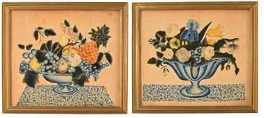 Pair of Folk art Theorem painted watercolors on velvet,