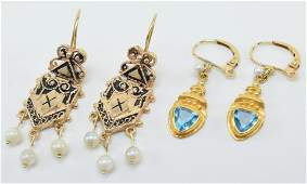 Two pair of gold drop earrings 1 22k gold blue