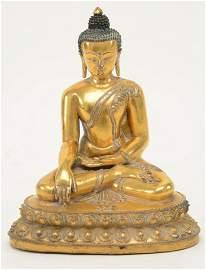 Gilt Bronze Buddha. Sino Tibetan. 15th century. Image