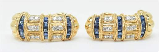 18 kt yellow gold and sapphire diamond earrings with