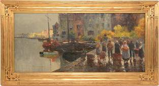 R. Weber. Impressionist painting of Dutch city harbor