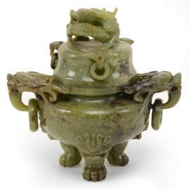 Chinese carved green stone censer. Carved dragon lid
