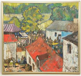 Oil on canvas painting of village scene. Signed de Vagh