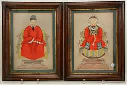 Pair of Chinese ancestral portraits. Gouache