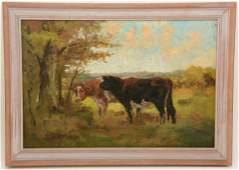Joseph Foxcroft Cole. American. Cows in landscape. Oil