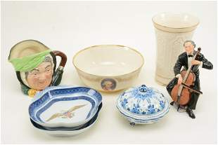 """7 Assorted ceramic items, a Royal Doulton figure """"The"""