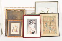 8 framed pieces of art including Chinese prints
