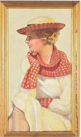 Blonde girl with polka dots. Early 20th century. Oil on