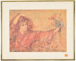 Edna Hibel signed offset lithograph print. Young girl
