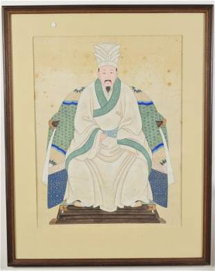 Large Chinese ancestral portrait of male figure in