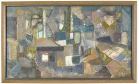 Rigney. Mid-century abstract painting with cube forms