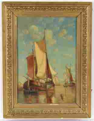 Paul Jean Clays. Belgian. 19th century. Marine scene