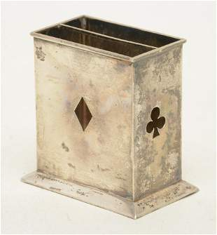 Tiffany & Co. sterling silver playing card stand.