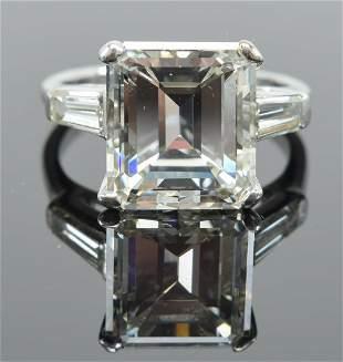 Ladies 4.7CT solitaire emerald cut diamond platinum