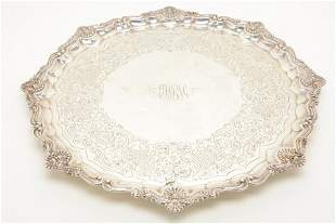 Large Gorham sterling silver round tray with engraved