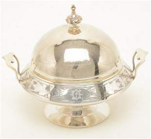 American Victorian sterling silver dome top butter
