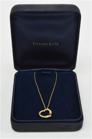 Tiffany & Co. 18K gold heart pendant necklace by Elsa
