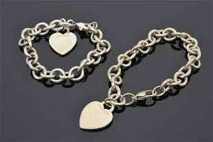 2 Tiffany & Co. sterling silver chain bracelets with
