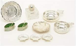 Sterling silver tableware including pair of salt