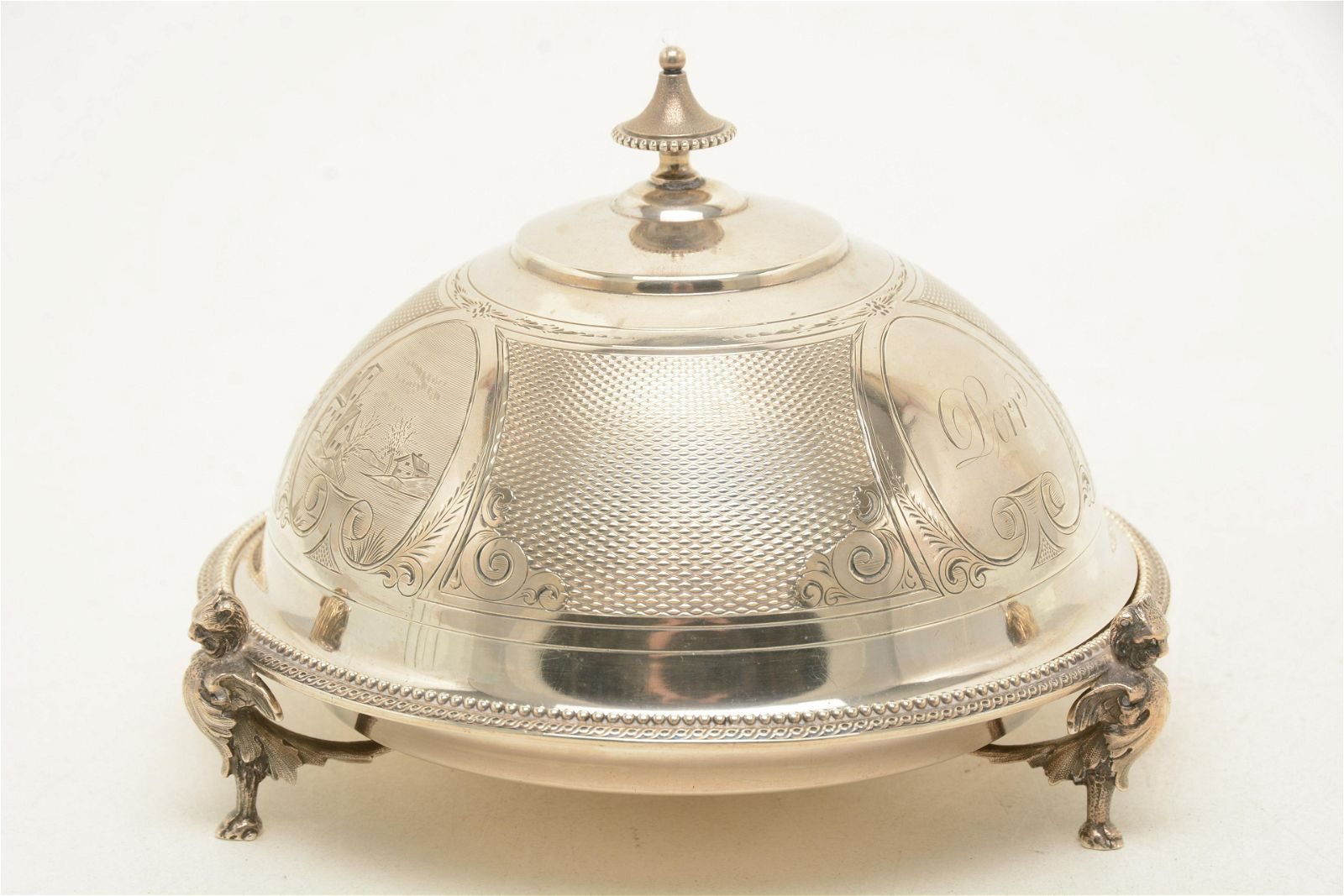Gorham Victorian coin silver dome top butter dish.
