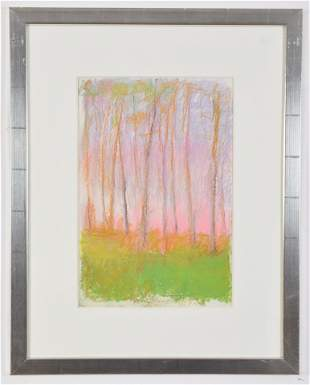 Wolf Kahn. American. Pastel landscape drawing with tall