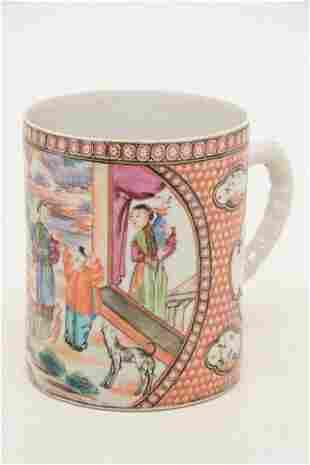 18th century Chinese export porcelain mug. Large scene