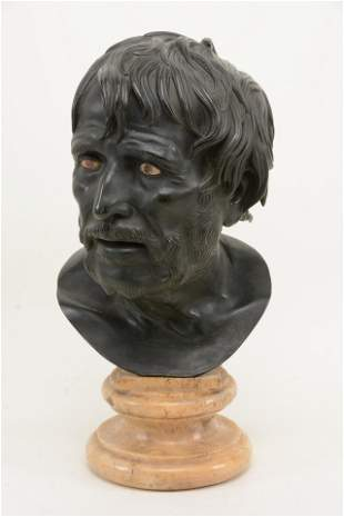 "19th century Italian Grand Tour bronze bust ""Seneca"""