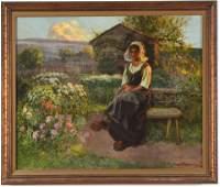Jean Beauduin. Outdoor genre scene painting of woman