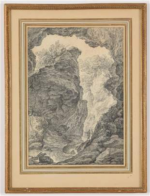 18th century old master drawing of figures by a grotto