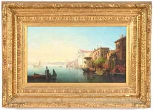 19th century Continental school Venetian harbor scene