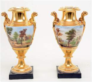 Early 19th century continental porcelain classical gilt