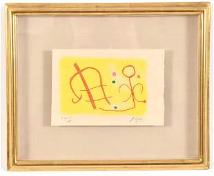 Joan Miro. Abstract lithograph of shapes with colorful