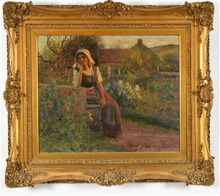 Jean Beauduin. Large painting outdoor genre scene