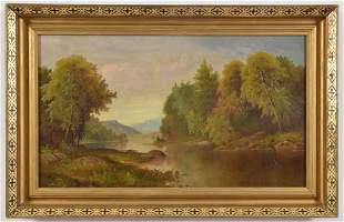 Daniel C. Grose. American. Hudson River landscape. Oil