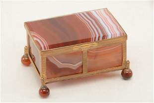 Regency style gilt metal framed agate box. Foliate