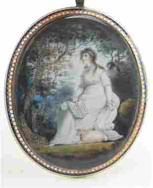 Early 19th century oval miniature mourning painting of