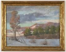 Nils Hogner. Large winter landscape. Oil on canvas.
