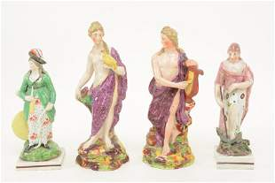 4 18th century Staffordshire pearlware porcelain